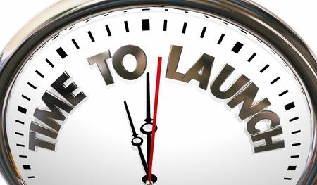 Hora de lanzamiento Inicio Comenzar Nuevo producto Compañía Reloj Ilustración 3d Foto de archivo