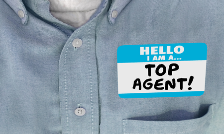 Top Agent Representative Best Performer Name Tag 3d Illustration Stock fotó