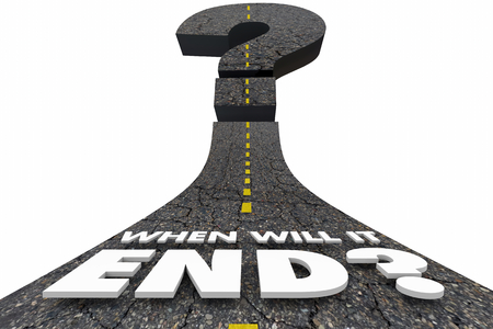 When Will it End Final Destination Finished Over Question Mark Road 3d Illustration Stock Photo