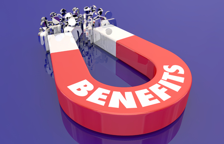 Benefits Perks Features Compensation Magnet Pulling People 3d Illustration