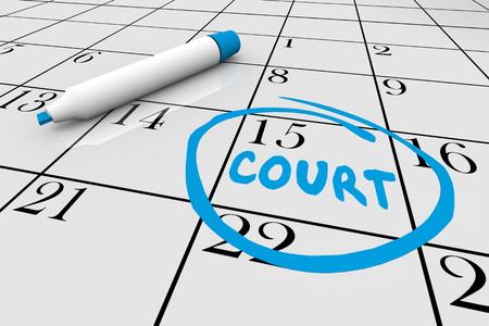 Gerichtsfall Tag Jury Pflichtkalender Datum 3d Illustration