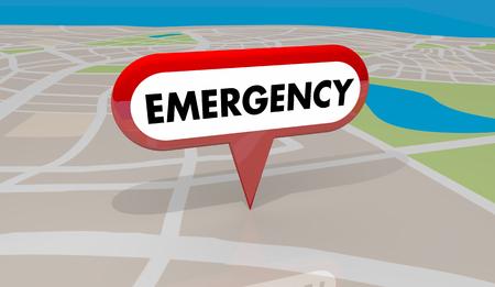Emergency Crisis Critical Problem Map Pin 3d Illustration Stock Photo
