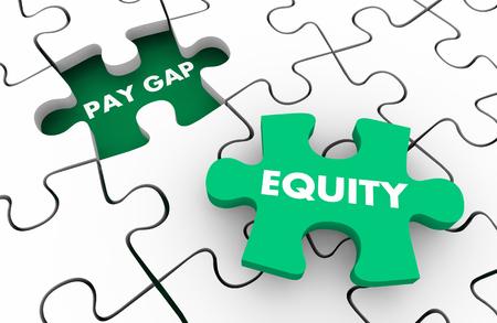 Pay Gap Equity Fair Wages Men Vs Women Puzzle Pieces 3d Illustration Banco de Imagens