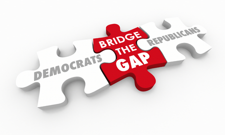 Democrats and Republicans Bridge the Gap Puzzle Pieces 3d Illustration