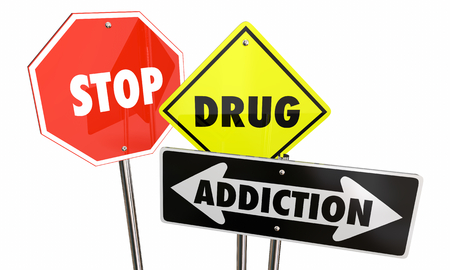 Stop Drug Addiction Abuse Habits Warning Signs 3d Illustration