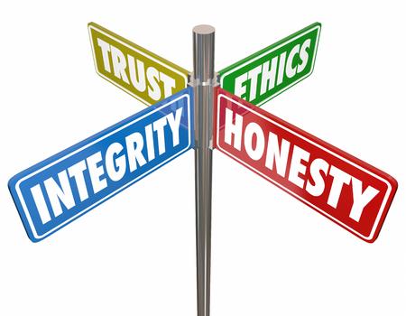 Integrità Onestà Fiducia Etica Segni 3d Illustrazione