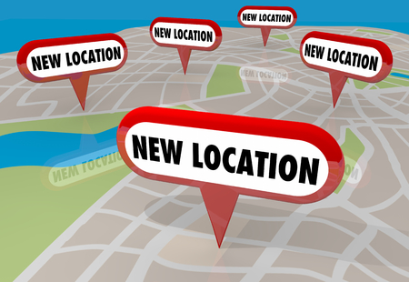 New Location Moving Relocate Moved Map Pins 3d Illustration 写真素材