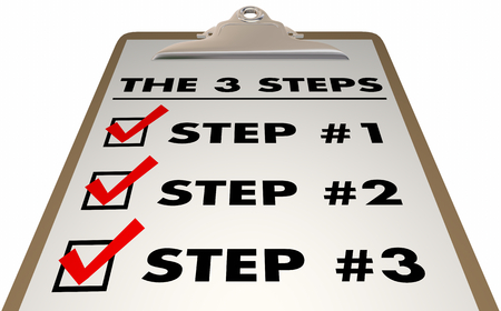 3 Steps Stages Three Action Procedure Checklist Clipboard 3d Illustration Фото со стока