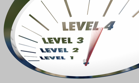 Levels Rising 1 to 4 Reaching Next Higher Speedometer 3d Illustration Stockfoto