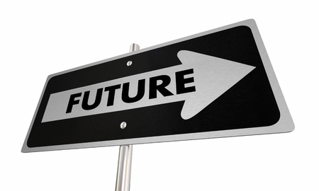 Future Coming Soon Tomorrow Ahead Road Sign 3d Illustration Stockfoto
