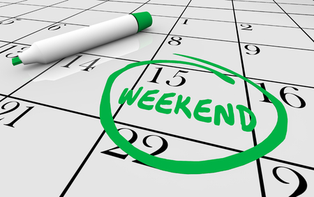 Calendar Weekend Circle Word 3d Illustration