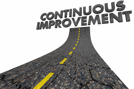 Continuous Improvement Always Getting Better Road Word 3d Illustration