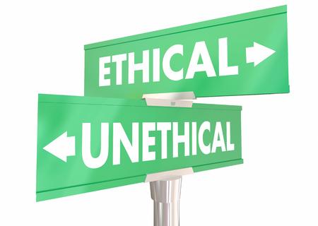 Etico vs comportamento non etico scelte 2 due cartelli stradali 3d illustrazione