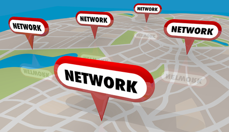 Network Connections Meetups Meetings Map Pins 3d Illustration