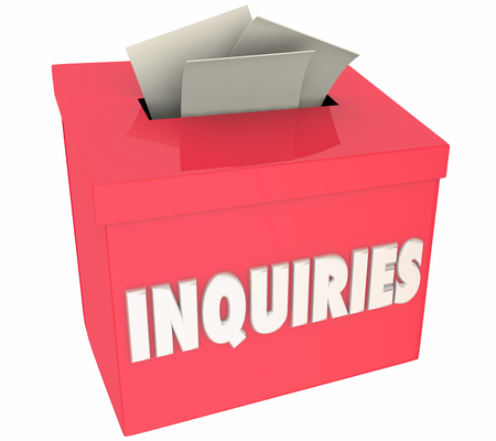 Inquiries Questions Asked Inquire Here Box 3d Illustration Stock Photo