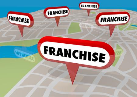 Franchises Nieuwe bedrijfsuitbreiding locaties kaartspelden 3d illustratie