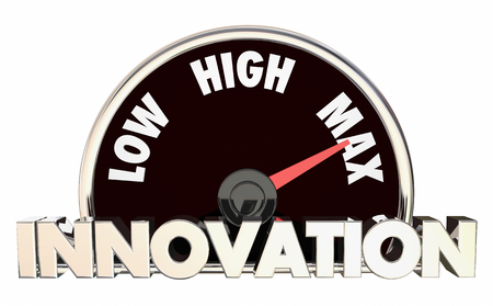 Innovation Level Rising Low High Maximum Speedometer 3d Illustration Stok Fotoğraf