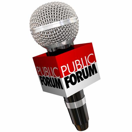 Public Forum Meeting Open Discussion Microphone 3d Illustration Foto de archivo