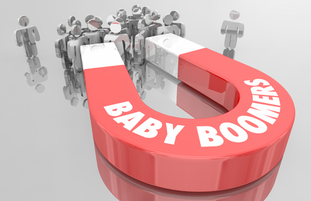 Baby Boomers Demo Group Magnet People 3d Illustration Imagens