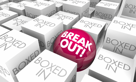 Break Out Vs Boxed In Escape Freedom 3d Illustration