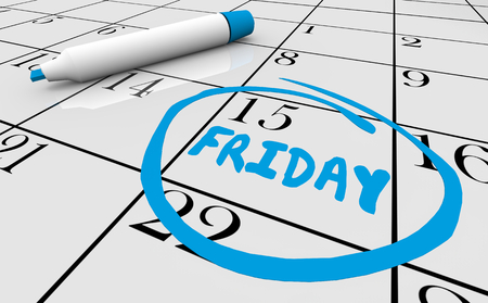 Calendar Friday Circle Word 3d Illustration