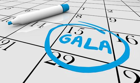 Calendar Gala Circle Word 3d Illustration