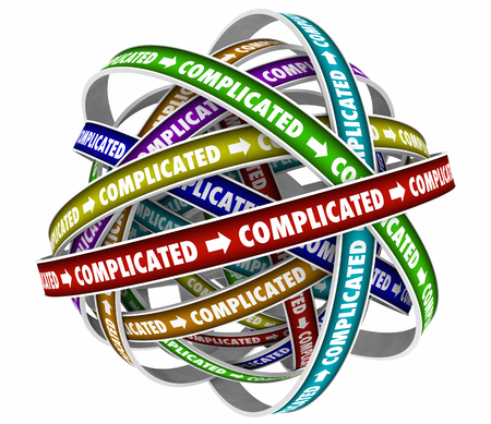 Complicated Difficult Challenging Complications Word Cycle 3d Illustration