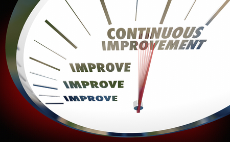 Continuous Improvement Always Get Better Speedometer 3d Illustration 스톡 콘텐츠