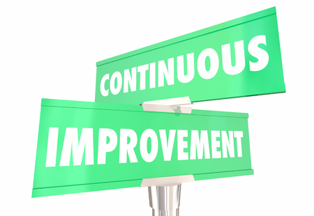 Mejora continua Siempre mejorando 2 Señales de tráfico de dos vías Ilustración 3d