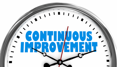 Continuous Improvement Always Getting Better Clock 3d Illustration Stock Photo
