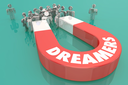 Dreamers Magnet People Hopes Big Dreams 3d Illustration Banco de Imagens