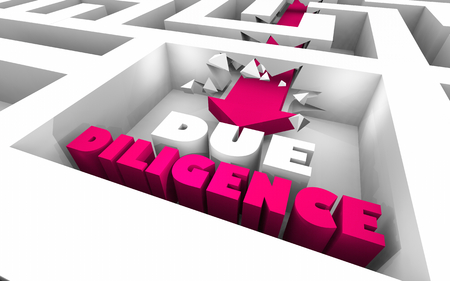 Due Diligence Research Business Findings Arrow Maze 3d Illustration Imagens