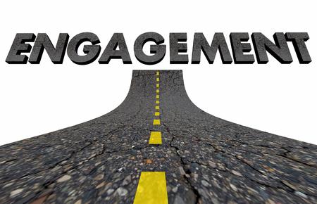 Engagement Interaction Participation Road Word 3d Illustration