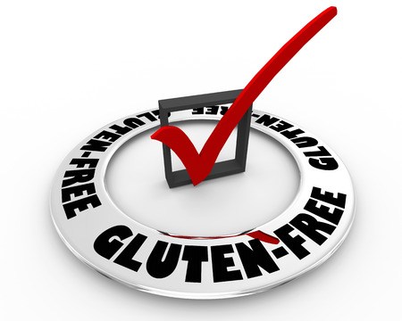 Gluten-Free Diet Food Healthy Eating Check Mark Box Word 3d Illustration Reklamní fotografie