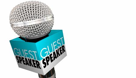 Gastredner Willkommen Einführung Mikrofon 3d Illustration Standard-Bild