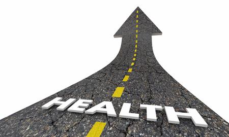 Health Lifestyle Positive Good Life Road Arrow 3d Illustration