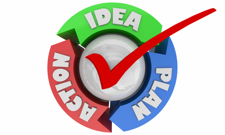 Idea Plan Action Success Goal Accomplished Cycle 3d Illustration