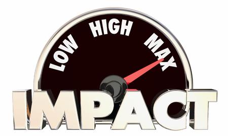 Impact Low High Maximum Huge Effect Measurement Speedometer 3d Illustration 写真素材