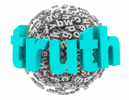 Truth Honest Sincerity Real Facts Letter Sphere 3d Illustration 스톡 콘텐츠