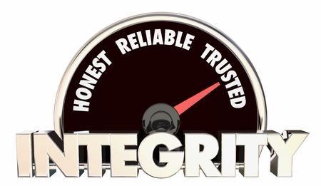 Integrity Honest Reliable Trusted Reputation Speedometer 3d Illustration Stock Photo