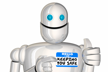 Keeping You Safe Secure Protected Robot Nametag 3d Illustration