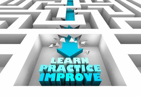 Learn Practice Improve Get Better Maze Arrow 3d Illustration