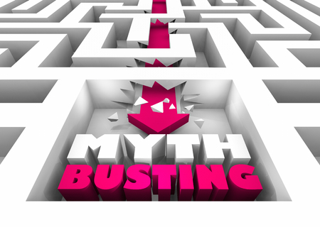 Myth Busting Finding Truth Answers Facts Arrow Maze 3d Illustration Banco de Imagens