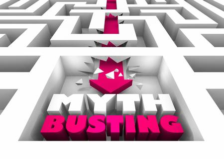 Myth Busting Trouver la Vérité Réponses Faits Flèche Labyrinthe Illustration 3d