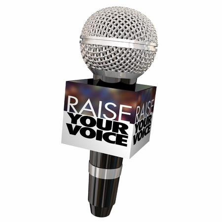 Erhöhen Sie Ihre Stimme Speak Up Gehörtes Mikrofon 3d Illustration