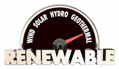 Renewable Energy Wind Solar Biothermal Hydro Power Speedometer 3d Illustration Stock Photo