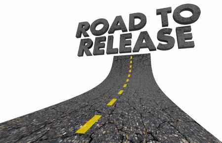 Road to Release Lancement du produit Dévoiler Road Word Illustration 3d