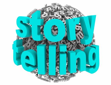 Storytelling Communication Share Experience Letter Sphere 3d Illustration Stok Fotoğraf