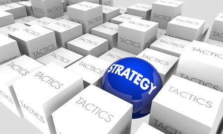 Strategy Vs Tactics Action Plan Goals Objectives 3d Illustration