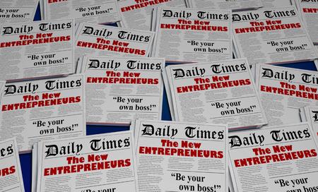 Les nouveaux entrepreneurs commencent une nouvelle entreprise à la une des journaux Illustration 3d Banque d'images